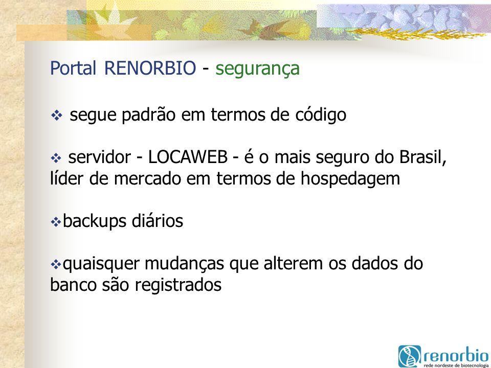 Portal RENORBIO - segurança segue padrão em termos de código servidor - LOCAWEB - é o mais seguro do Brasil, líder de mercado em termos de hospedagem