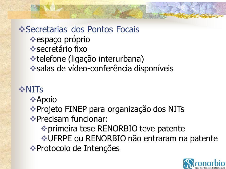 Secretarias dos Pontos Focais espaço próprio secretário fixo telefone (ligação interurbana) salas de vídeo-conferência disponíveis NITs Apoio Projeto