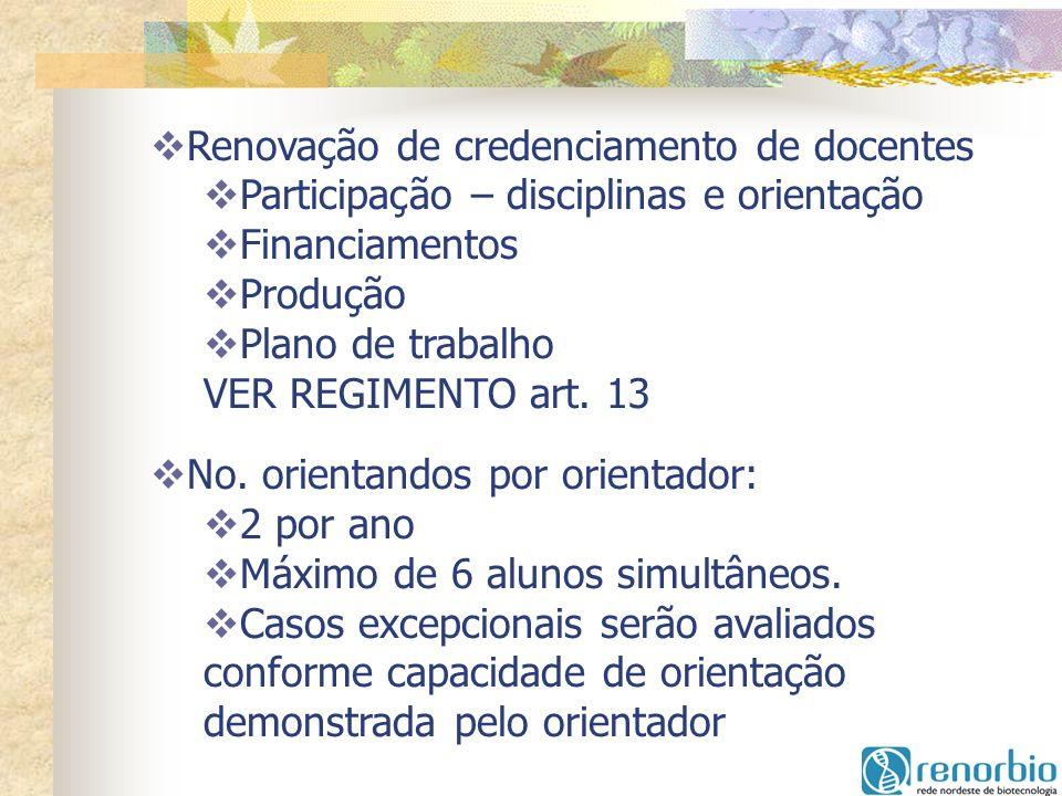Renovação de credenciamento de docentes Participação – disciplinas e orientação Financiamentos Produção Plano de trabalho VER REGIMENTO art. 13 No. or