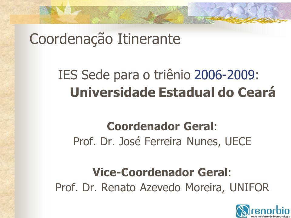 Coordenação Itinerante - IES Sede para o triênio 2006-2009: Universidade Estadual do Ceará Coordenador Geral: Prof. Dr. José Ferreira Nunes, UECE Vice
