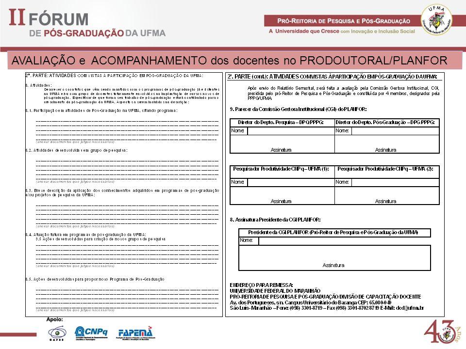 AVALIAÇÃO e ACOMPANHAMENTO dos docentes no PRODOUTORAL/PLANFOR