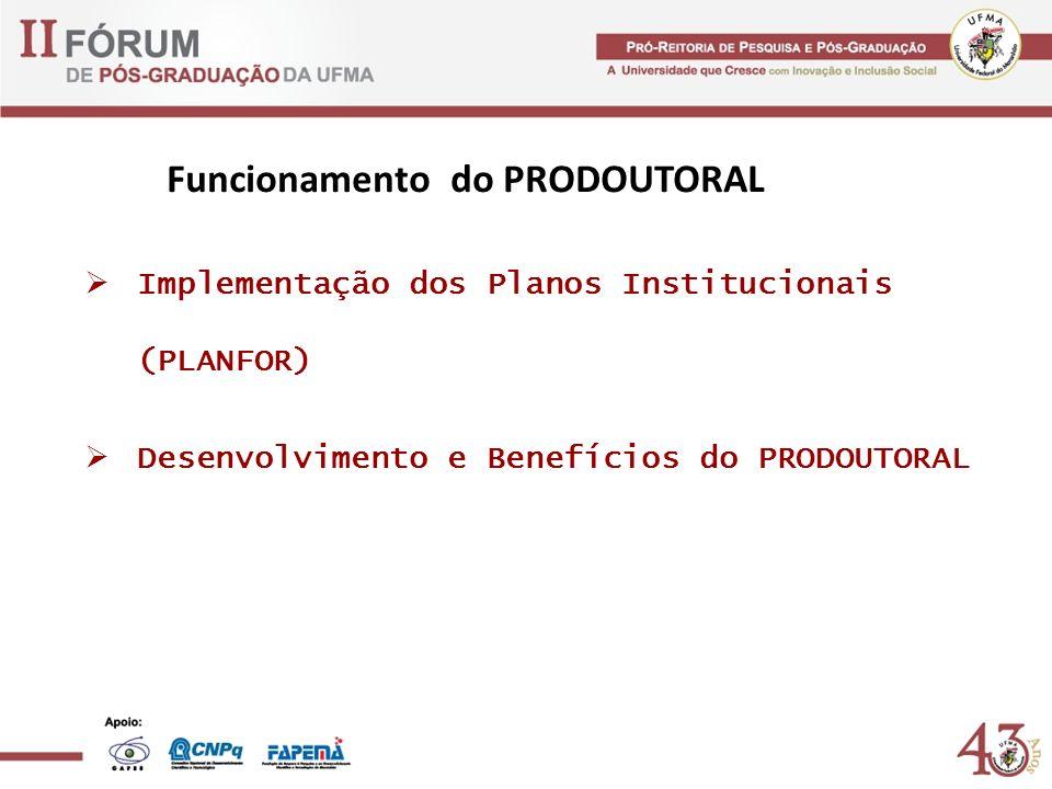 Implementação dos Planos Institucionais (PLANFOR) Desenvolvimento e Benefícios do PRODOUTORAL Funcionamento do PRODOUTORAL