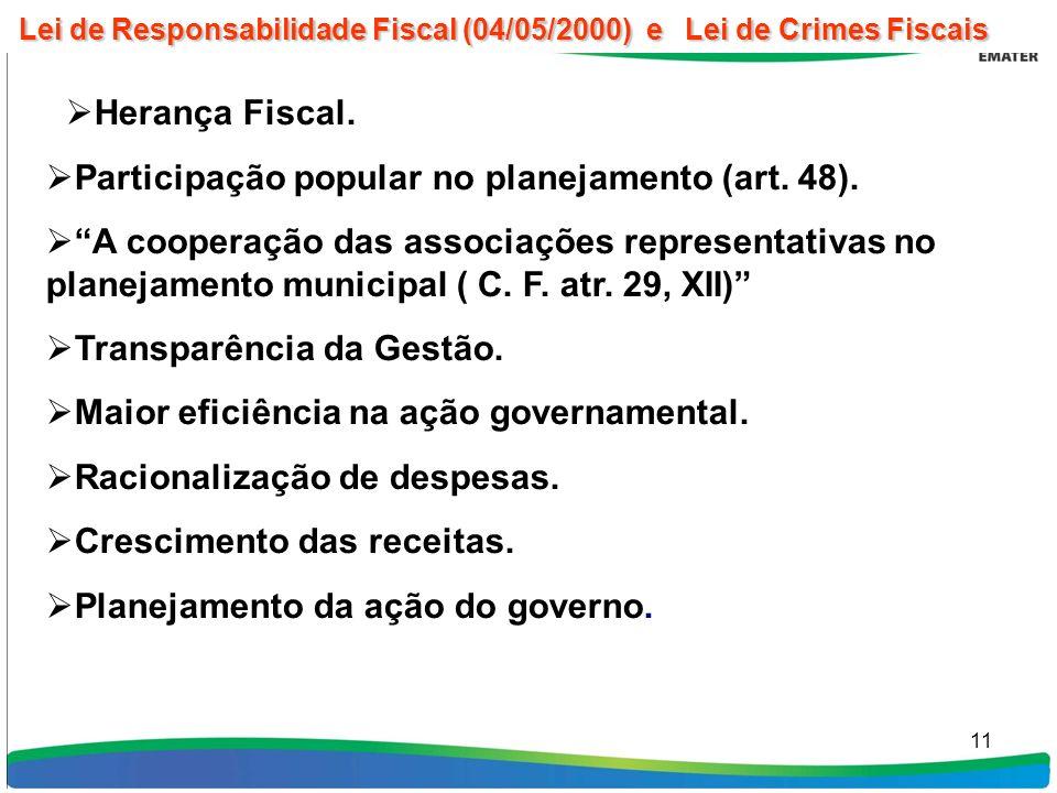 11 Herança Fiscal. Participação popular no planejamento (art.
