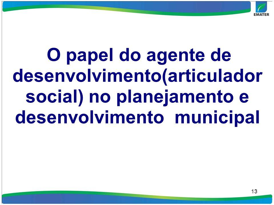 13 O papel do agente de desenvolvimento(articulador social) no planejamento e desenvolvimento municipal