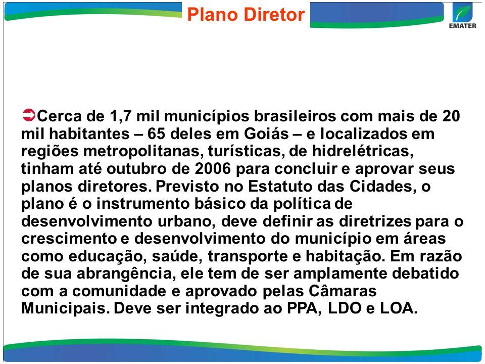 Plano Diretor Cerca de 1,7 mil municípios brasileiros com mais de 20 mil habitantes – 65 deles em Goiás – e localizados em regiões metropolitanas, turísticas, de hidrelétricas, tinham até outubro de 2006 para concluir e aprovar seus planos diretores.