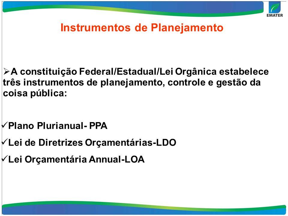 Instrumentos de Planejamento Plano Plurianual- PPA Lei de Diretrizes Orçamentárias-LDO Lei Orçamentária Annual-LOA A constituição Federal/Estadual/Lei Orgânica estabelece três instrumentos de planejamento, controle e gestão da coisa pública: