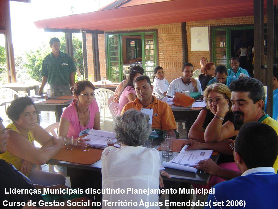 Lidernças Municipais discutindo Planejamento Municipal Curso de Gestão Social no Território Águas Emendadas( set 2006)