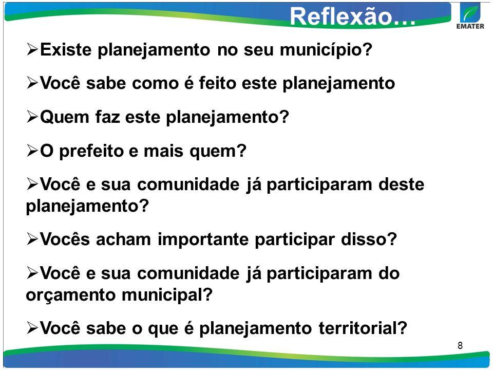 8 Reflexão… Existe planejamento no seu município.