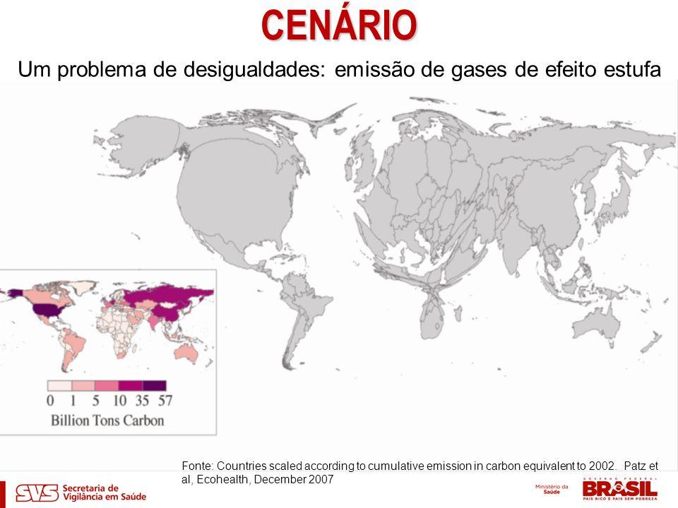 CENÁRIO Um problema de desigualdades: emissão de gases de efeito estufa Fonte: Countries scaled according to cumulative emission in carbon equivalent