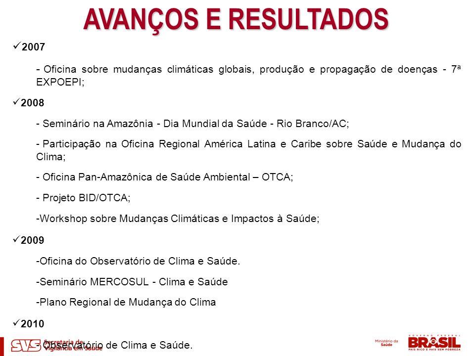AVANÇOS E RESULTADOS 2007 - Oficina sobre mudanças climáticas globais, produção e propagação de doenças - 7ª EXPOEPI; 2008 - Seminário na Amazônia - D