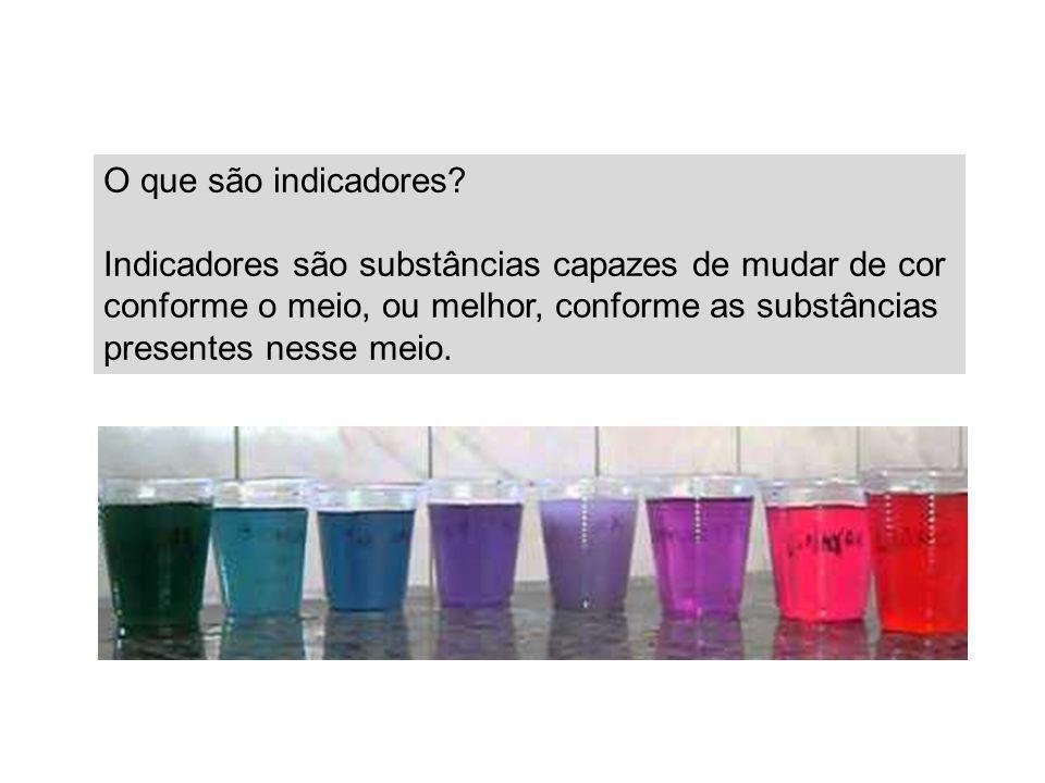 O que são indicadores? Indicadores são substâncias capazes de mudar de cor conforme o meio, ou melhor, conforme as substâncias presentes nesse meio.