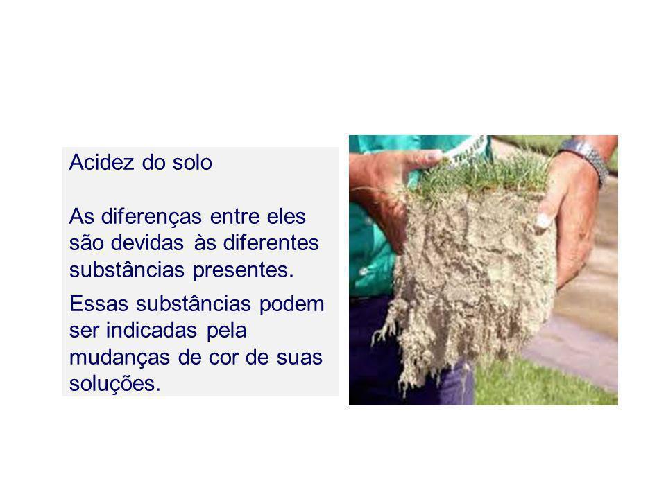 Acidez do solo As diferenças entre eles são devidas às diferentes substâncias presentes. Essas substâncias podem ser indicadas pela mudanças de cor de
