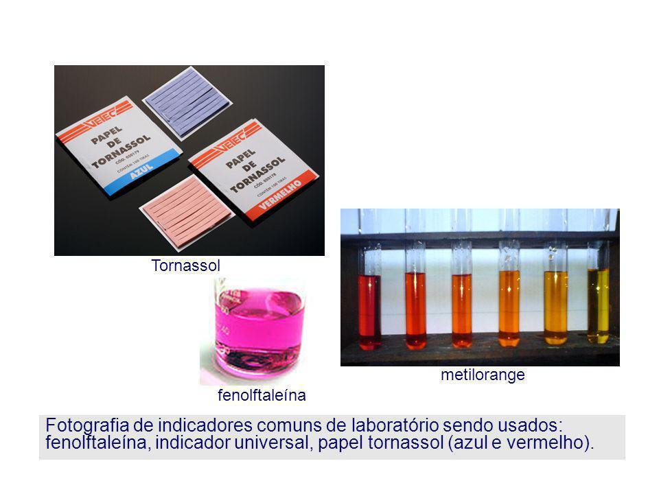 Fotografia de indicadores comuns de laboratório sendo usados: fenolftaleína, indicador universal, papel tornassol (azul e vermelho). metilorange Torna