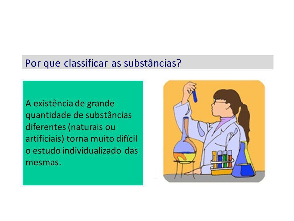 Por que classificar as substâncias? A existência de grande quantidade de substâncias diferentes (naturais ou artificiais) torna muito difícil o estudo