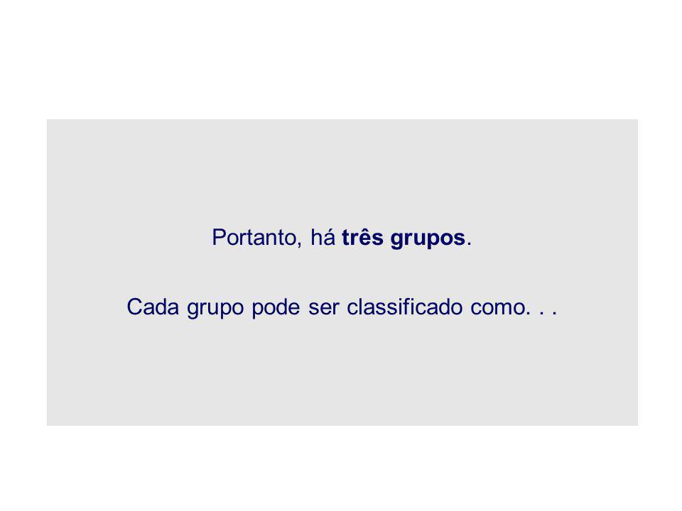 Portanto, há três grupos. Cada grupo pode ser classificado como...