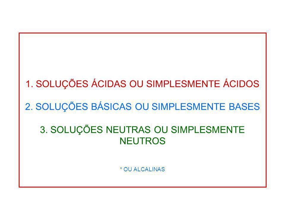 1. SOLUÇÕES ÁCIDAS OU SIMPLESMENTE ÁCIDOS 2. SOLUÇÕES BÁSICAS OU SIMPLESMENTE BASES 3. SOLUÇÕES NEUTRAS OU SIMPLESMENTE NEUTROS * OU ALCALINAS