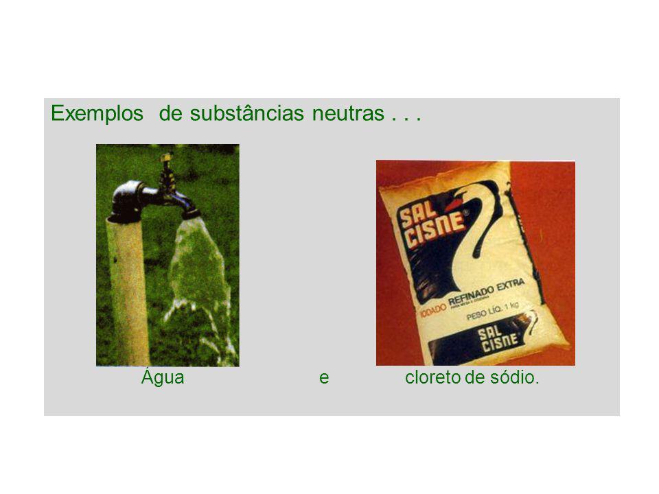 Exemplos de substâncias neutras... Água e cloreto de sódio.