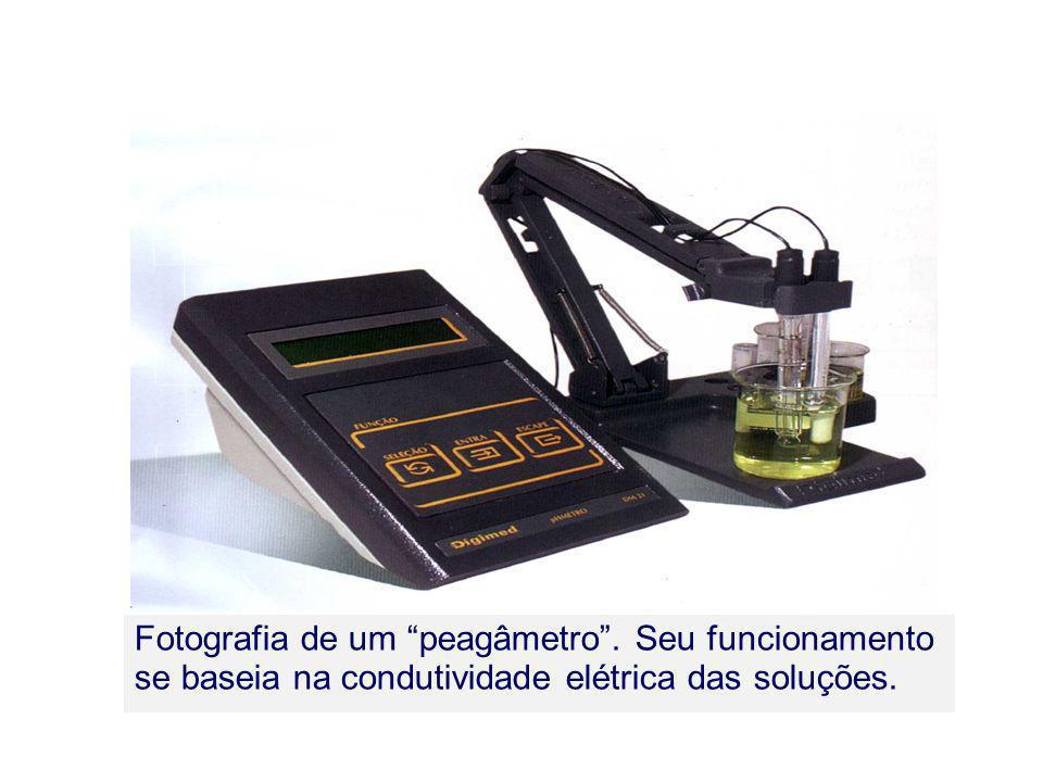 Fotografia de um peagâmetro. Seu funcionamento se baseia na condutividade elétrica das soluções.