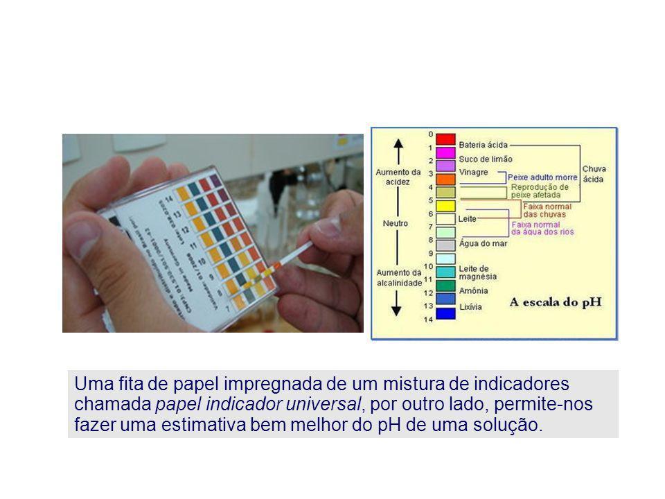 Uma fita de papel impregnada de um mistura de indicadores chamada papel indicador universal, por outro lado, permite-nos fazer uma estimativa bem melh