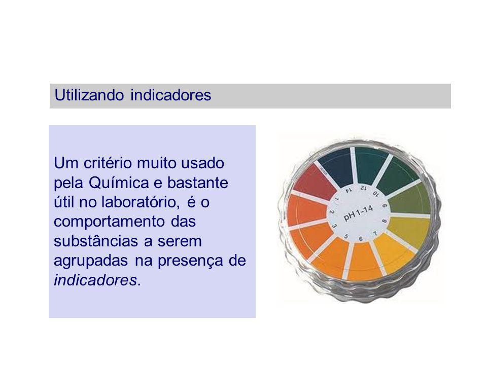 Utilizando indicadores Um critério muito usado pela Química e bastante útil no laboratório, é o comportamento das substâncias a serem agrupadas na pre