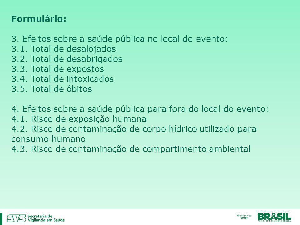 Formulário: 3. Efeitos sobre a saúde pública no local do evento: 3.1. Total de desalojados 3.2. Total de desabrigados 3.3. Total de expostos 3.4. Tota