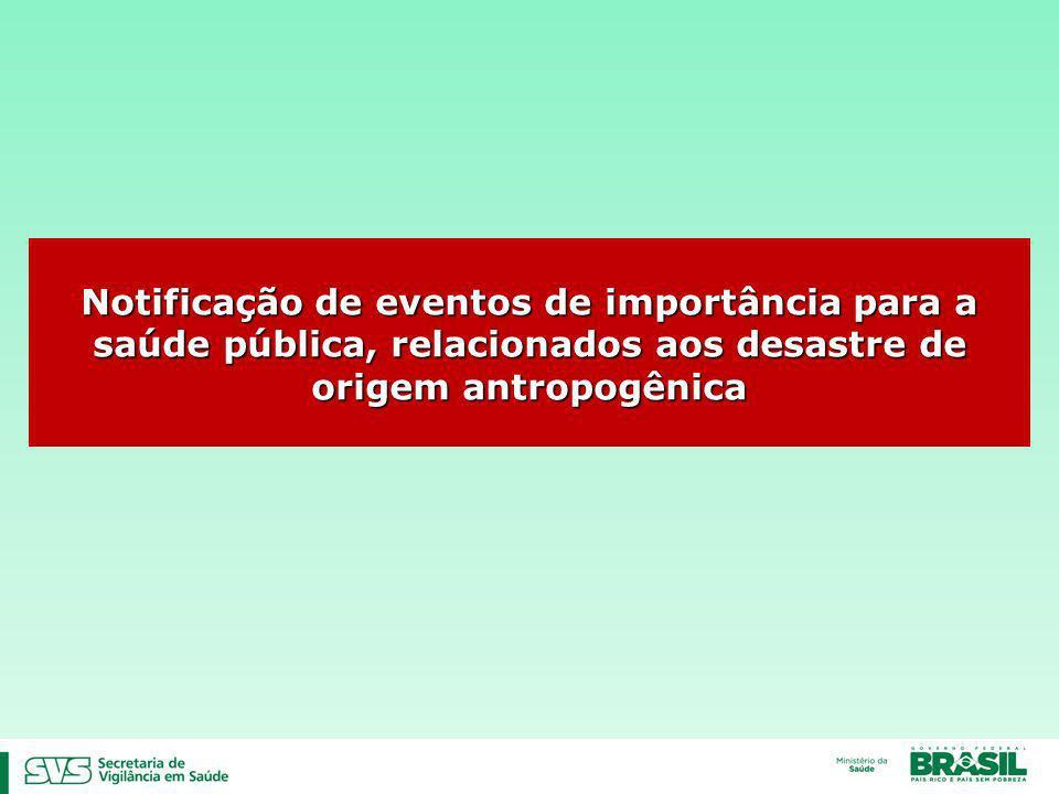 Notificação de eventos de importância para a saúde pública, relacionados aos desastre de origem antropogênica