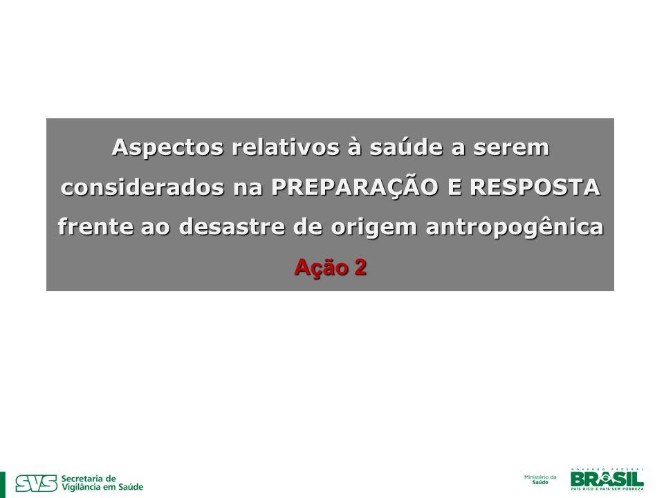 Aspectos relativos à saúde a serem considerados na PREPARAÇÃO E RESPOSTA frente ao desastre de origem antropogênica Ação 2