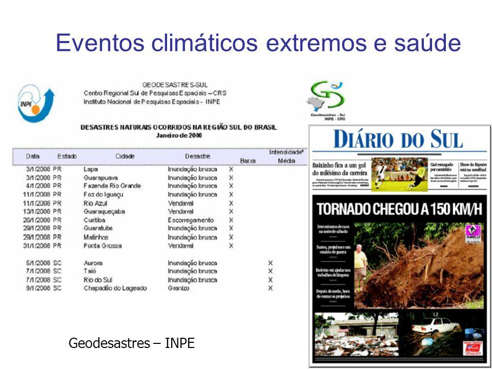 Eventos climáticos extremos e saúde Geodesastres – INPE