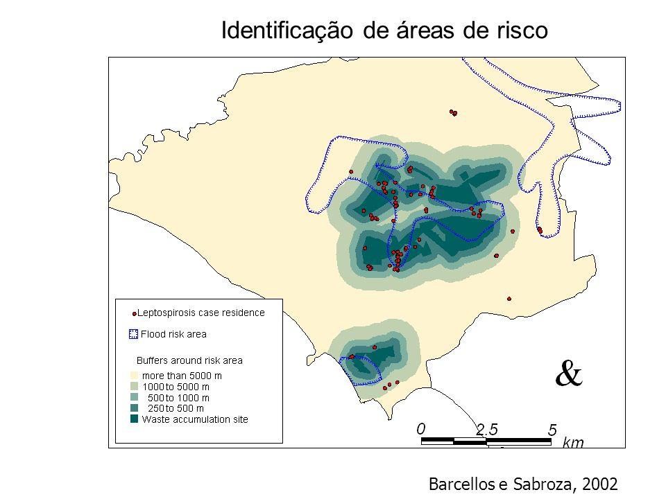 Identificação de áreas de risco Barcellos e Sabroza, 2002