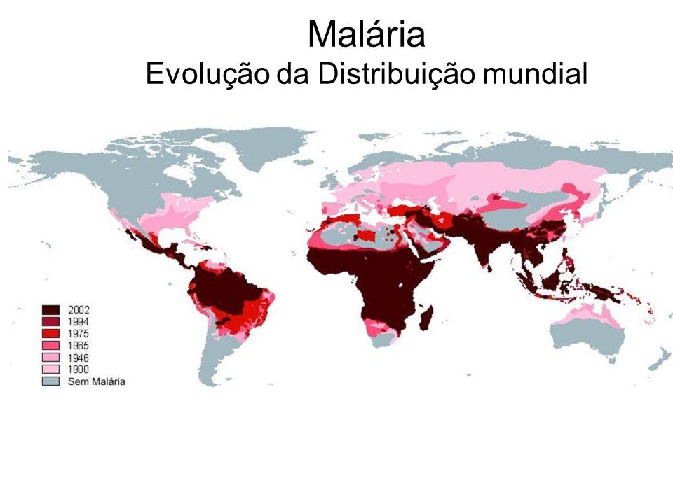 Malária Evolução da Distribuição mundial
