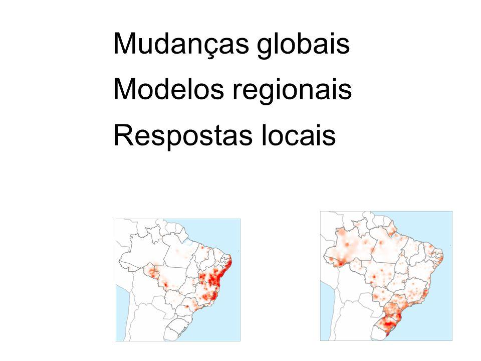 Mudanças globais Modelos regionais Respostas locais