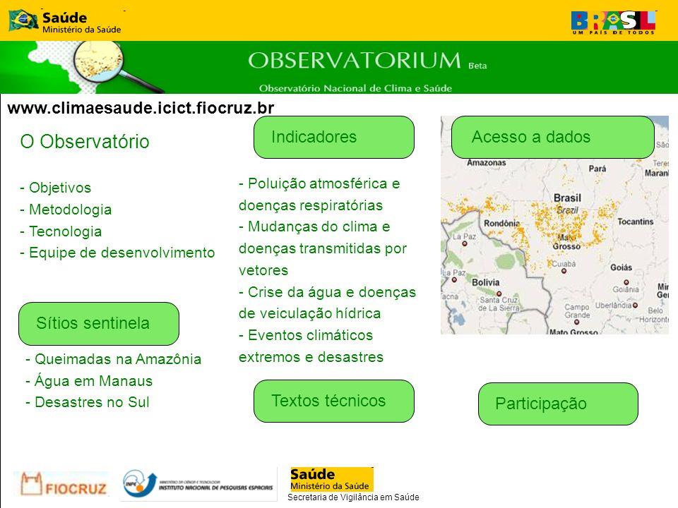 Estrutura proposta do portal O Observatório - Objetivos - Metodologia - Tecnologia - Equipe de desenvolvimento Acesso a dadosIndicadores - Poluição at