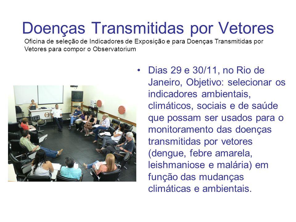 Doenças Transmitidas por Vetores Dias 29 e 30/11, no Rio de Janeiro, Objetivo: selecionar os indicadores ambientais, climáticos, sociais e de saúde qu