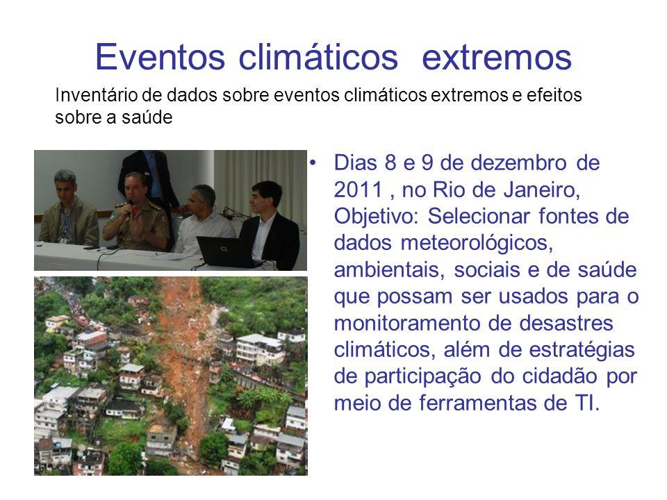 Eventos climáticos extremos Dias 8 e 9 de dezembro de 2011, no Rio de Janeiro, Objetivo: Selecionar fontes de dados meteorológicos, ambientais, sociai