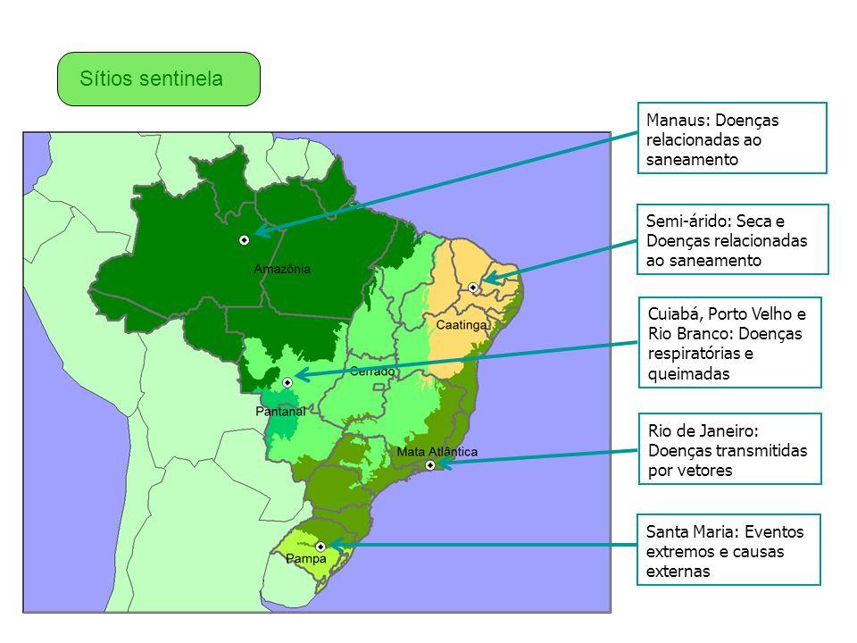 Manaus: Doenças relacionadas ao saneamento Semi-árido: Seca e Doenças relacionadas ao saneamento Cuiabá, Porto Velho e Rio Branco: Doenças respiratóri