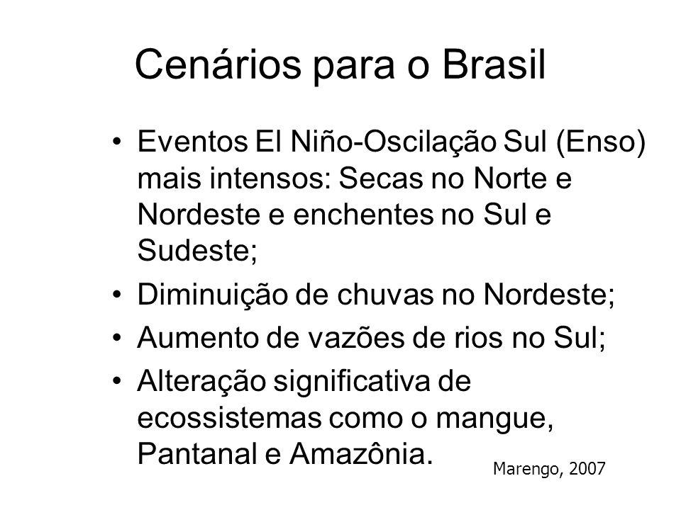Cenários para o Brasil Eventos El Niño-Oscilação Sul (Enso) mais intensos: Secas no Norte e Nordeste e enchentes no Sul e Sudeste; Diminuição de chuva