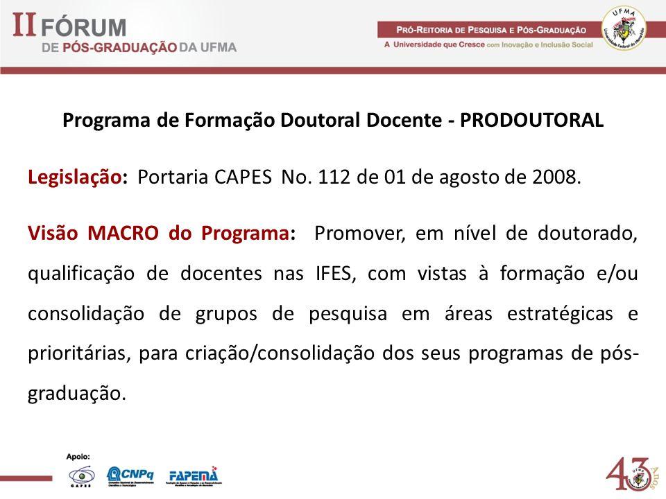 Programa de Formação Doutoral Docente - PRODOUTORAL Legislação: Portaria CAPES No. 112 de 01 de agosto de 2008. Visão MACRO do Programa: Promover, em