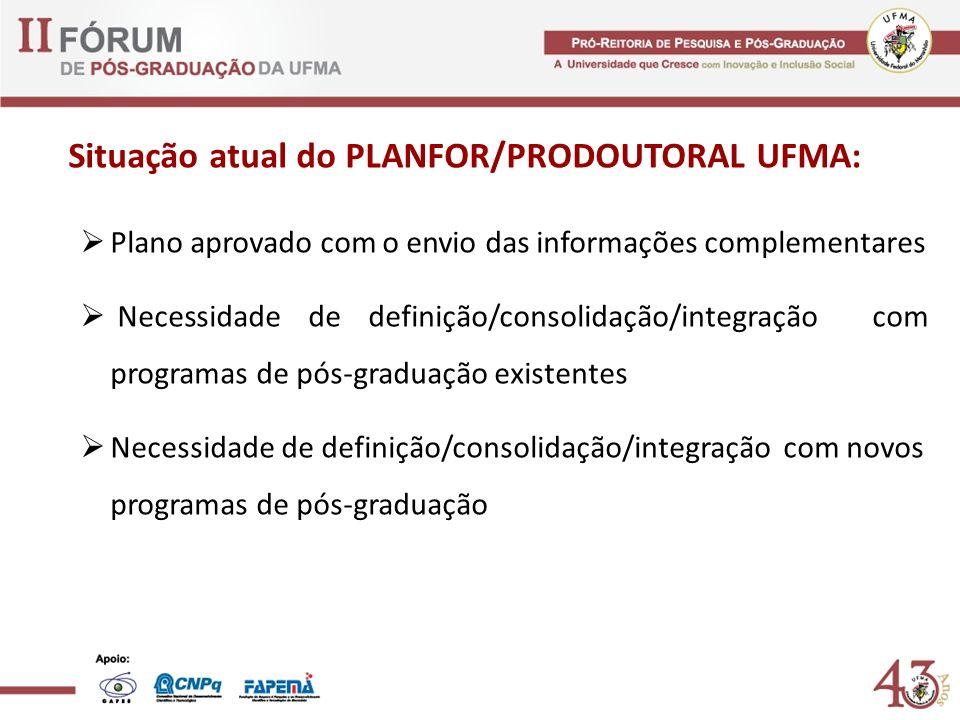 Situação atual do PLANFOR/PRODOUTORAL UFMA: Plano aprovado com o envio das informações complementares Necessidade de definição/consolidação/integração