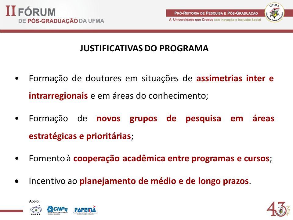 JUSTIFICATIVAS DO PROGRAMA Formação de doutores em situações de assimetrias inter e intrarregionais e em áreas do conhecimento; Formação de novos grup