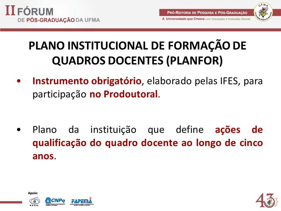PLANO INSTITUCIONAL DE FORMAÇÃO DE QUADROS DOCENTES (PLANFOR) Instrumento obrigatório, elaborado pelas IFES, para participação no Prodoutoral. Plano d