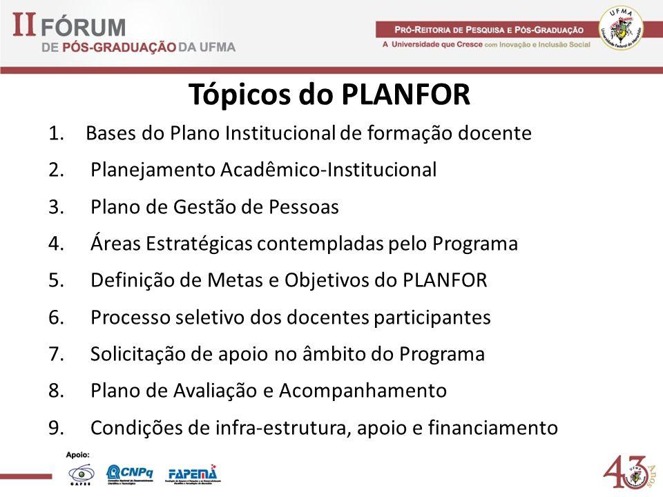 Tópicos do PLANFOR 1.Bases do Plano Institucional de formação docente 2. Planejamento Acadêmico-Institucional 3. Plano de Gestão de Pessoas 4. Áreas E