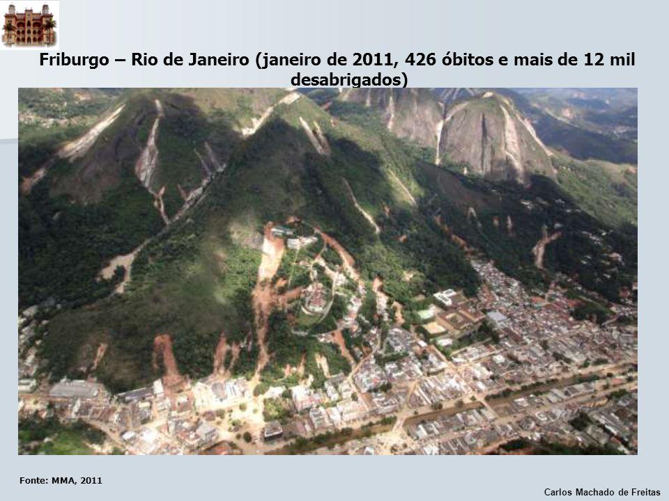 Carlos Machado de Freitas Friburgo – Rio de Janeiro (janeiro de 2011, 426 óbitos e mais de 12 mil desabrigados) Fonte: MMA, 2011
