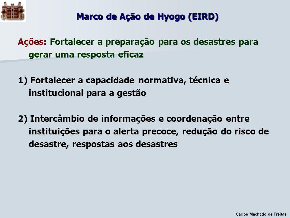 Carlos Machado de Freitas Marco de Ação de Hyogo (EIRD) Ações: Fortalecer a preparação para os desastres para gerar uma resposta eficaz 1) Fortalecer