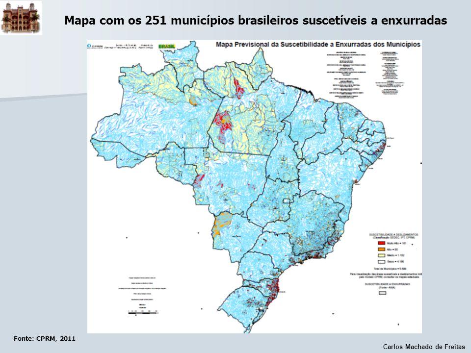 Carlos Machado de Freitas Fonte: CPRM, 2011 Mapa com os 251 municípios brasileiros suscetíveis a enxurradas