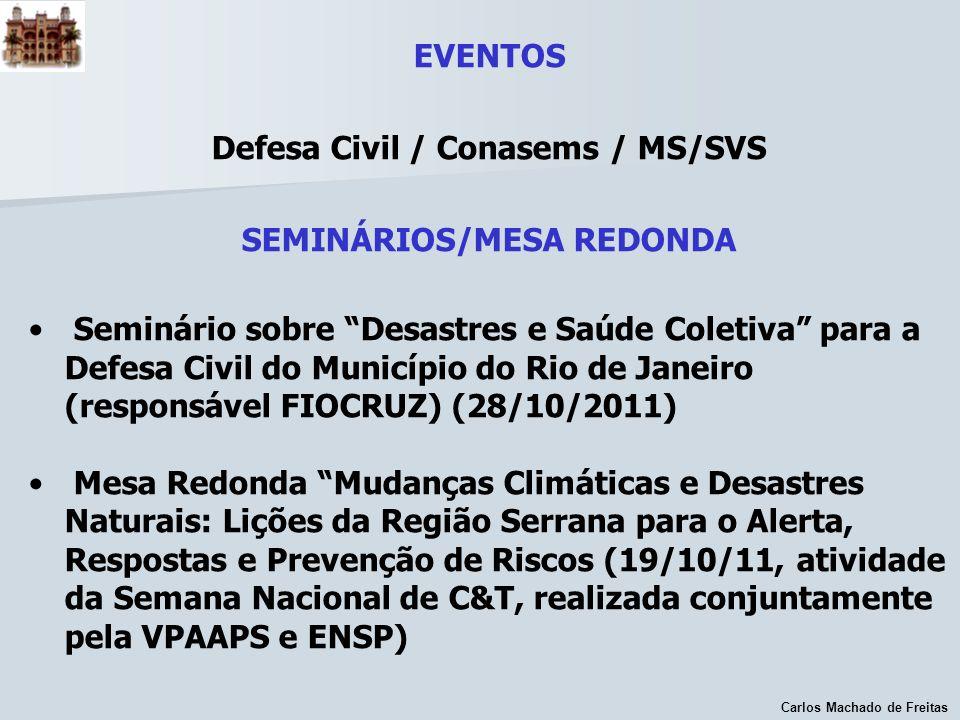 Carlos Machado de Freitas EVENTOS Defesa Civil / Conasems / MS/SVS SEMINÁRIOS/MESA REDONDA Seminário sobre Desastres e Saúde Coletiva para a Defesa Ci