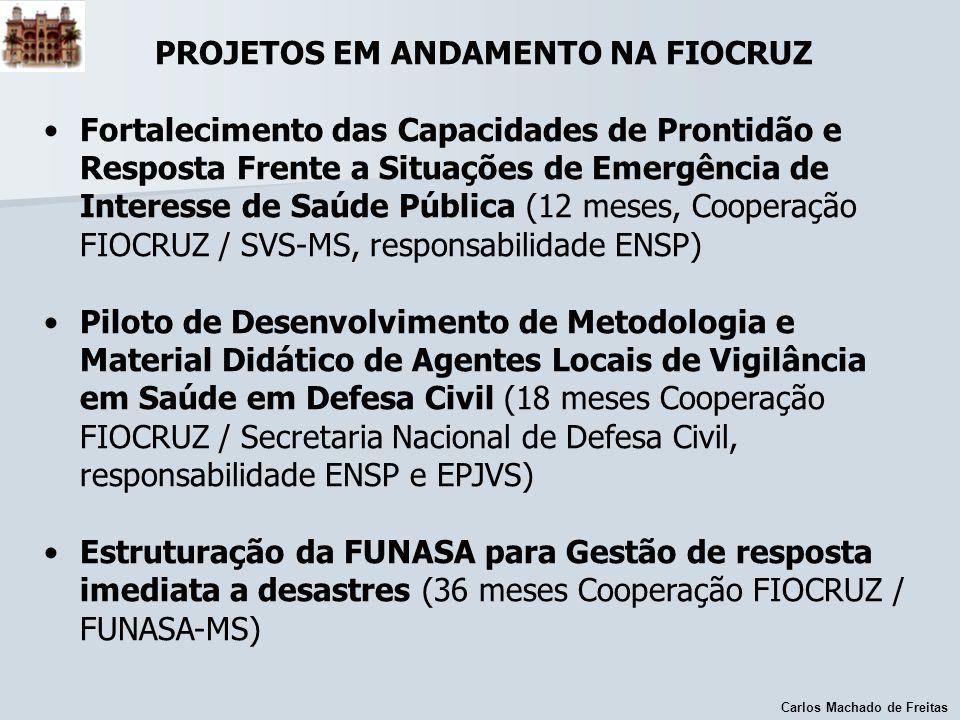 Carlos Machado de Freitas PROJETOS EM ANDAMENTO NA FIOCRUZ Fortalecimento das Capacidades de Prontidão e Resposta Frente a Situações de Emergência de