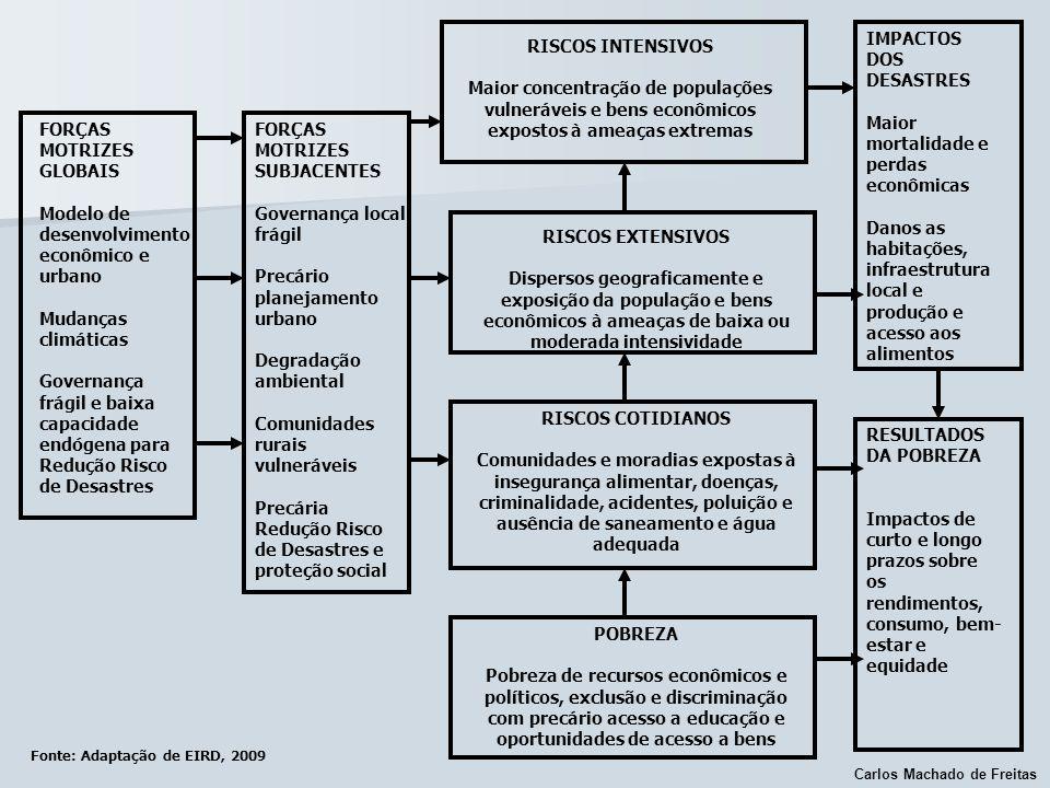 Carlos Machado de Freitas Fonte: Adaptação de EIRD, 2009 FORÇAS MOTRIZES GLOBAIS Modelo de desenvolvimento econômico e urbano Mudanças climáticas Gove