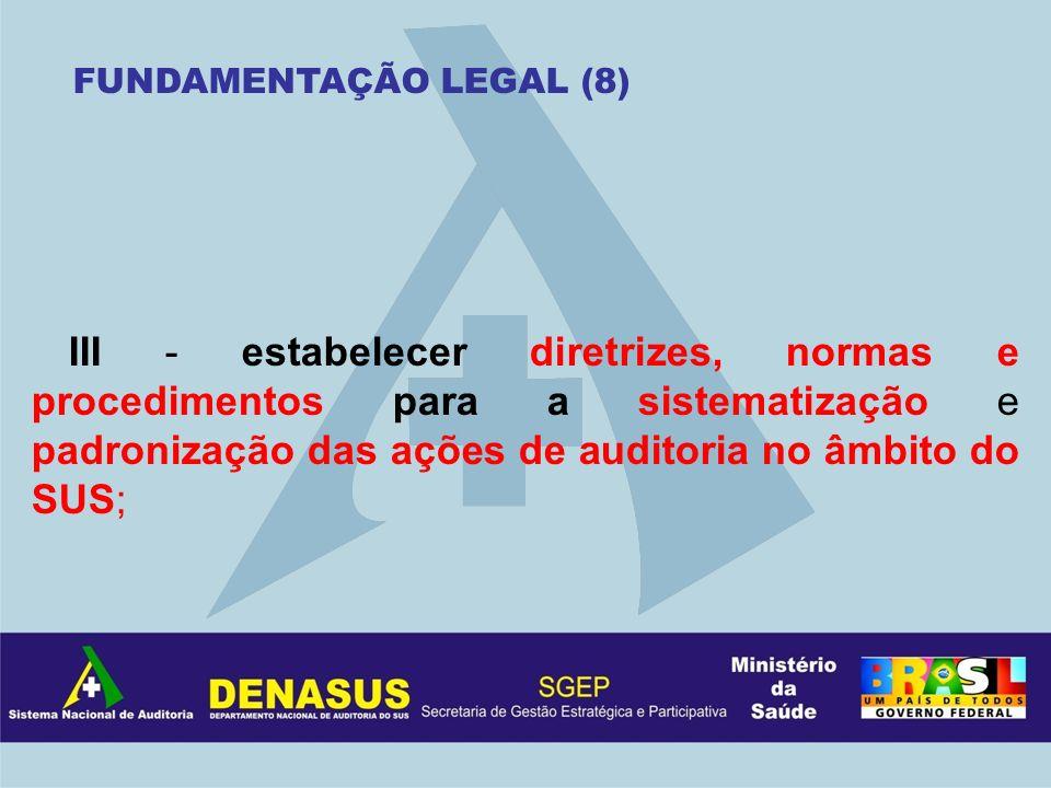 III - estabelecer diretrizes, normas e procedimentos para a sistematização e padronização das ações de auditoria no âmbito do SUS; FUNDAMENTAÇÃO LEGAL
