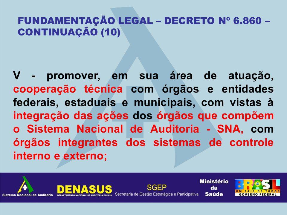 V - promover, em sua área de atuação, cooperação técnica com órgãos e entidades federais, estaduais e municipais, com vistas à integração das ações do