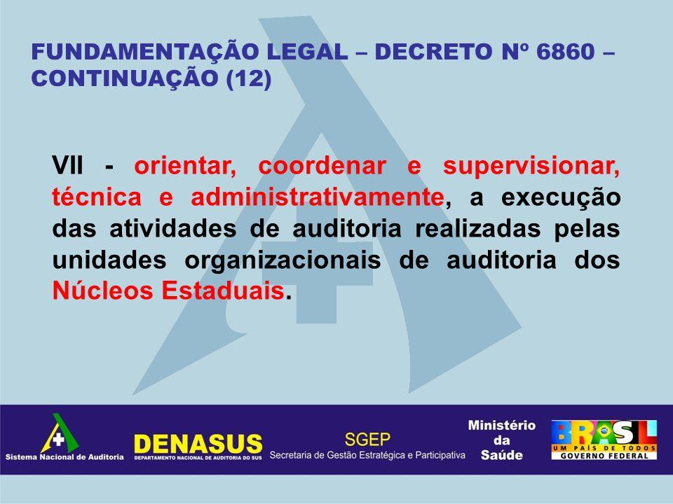 FUNDAMENTAÇÃO LEGAL – DECRETO Nº 6860 – CONTINUAÇÃO (12) VII - orientar, coordenar e supervisionar, técnica e administrativamente, a execução das ativ